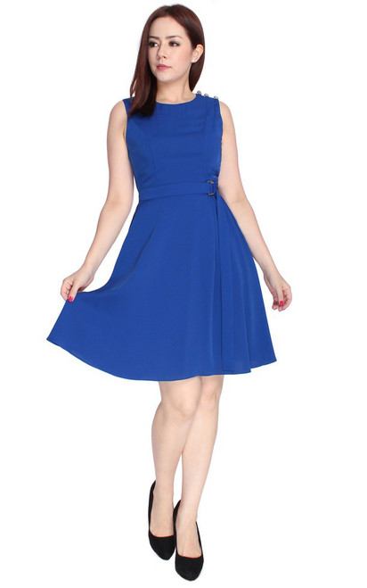 D-Ring Fit & Flare Dress - Cobalt Blue