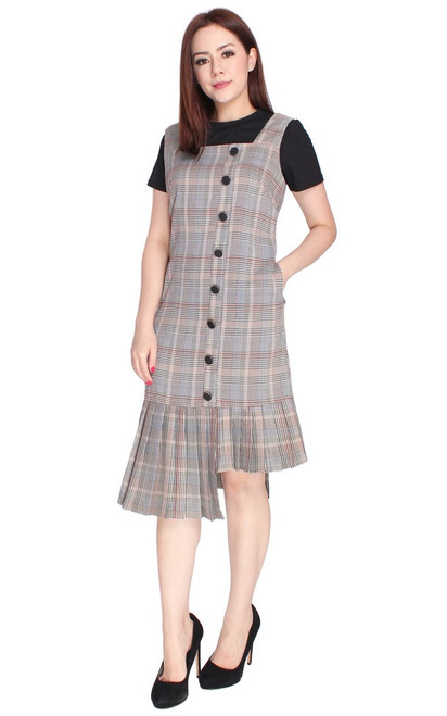 Asymmetrical Checkered Pinafore Dress