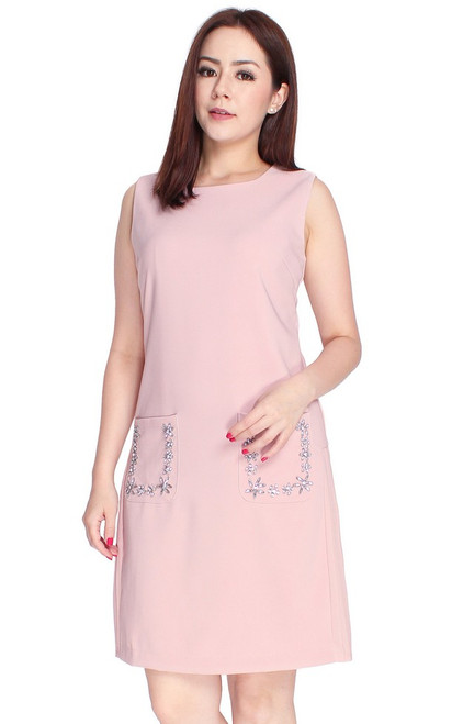 Embellished Side Pleats Dress - Dusty Pink