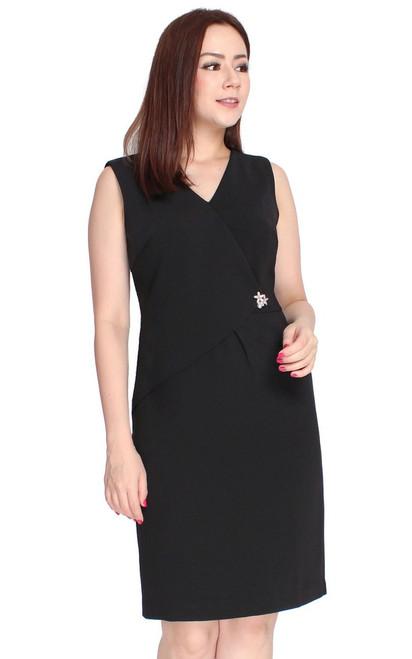 Origami Foldover Dress - Black