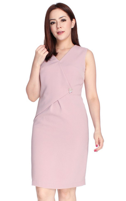 Origami Foldover Dress - Dusty Pink