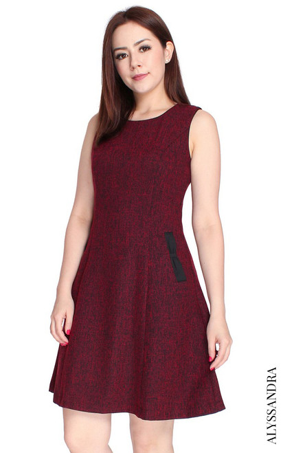 Tweed Flare Dress - Wine