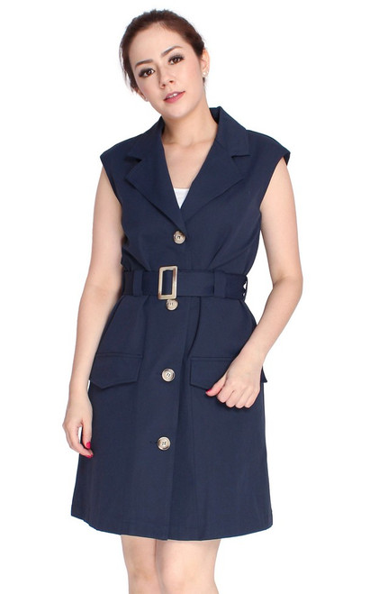 Pockets Trench Dress - Navy
