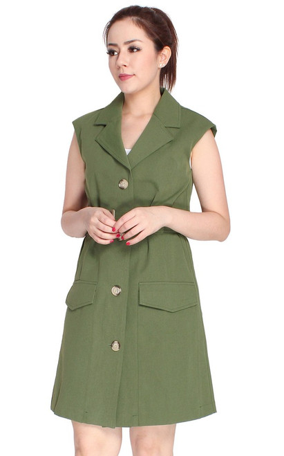Pockets Trench Dress - Olive