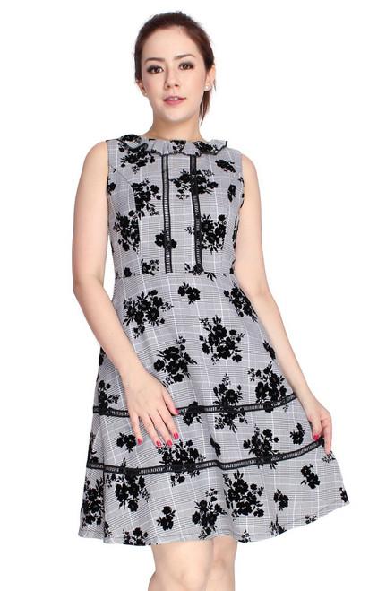 Velvet Floral Motif Flare Dress