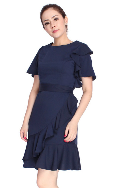 Asymmetrical Ruffled Dress - Navy