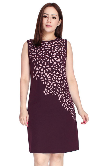 Laser Cutout Shift Dress - Deep Plum