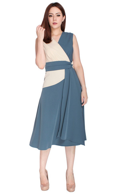 Duo Tone Drape Flare Dress - Steel Blue