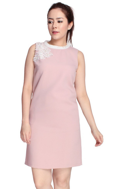 Floral Applique Shift Dress - Dusty Pink