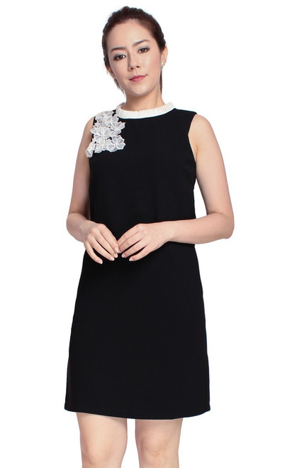 Floral Applique Shift Dress - Black