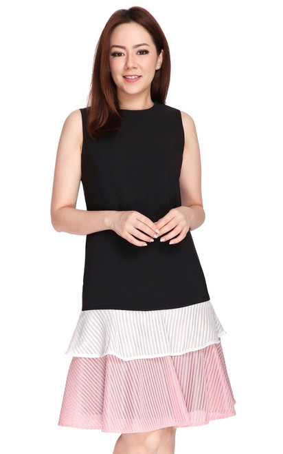 Contrast Layered Hem Dress