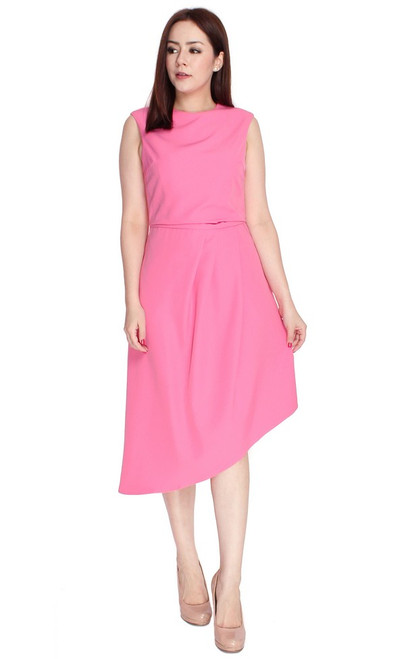 Asymmetrical Drape Dress - Pink