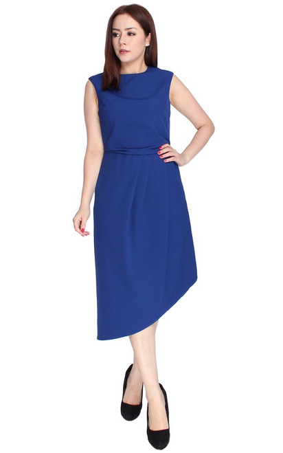 Asymmetrical Drape Dress - Blue