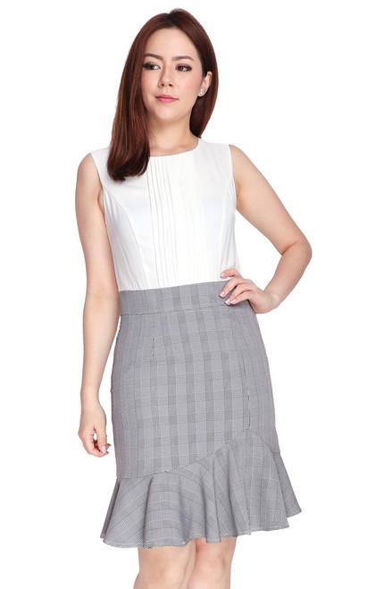 Pintuck Top Ruffle Hem Dress - White