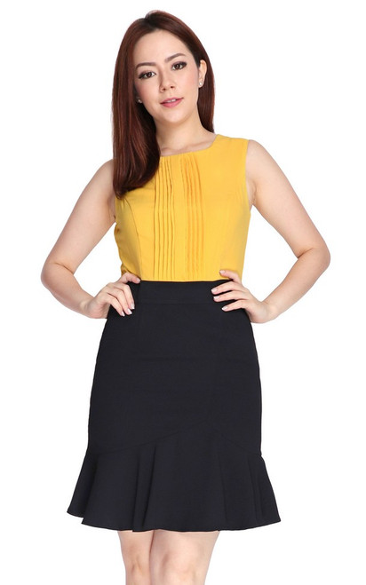 Pintuck Top Ruffle Hem Dress - Marigold