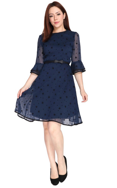 Flared Sleeves Chiffon Dress - Navy