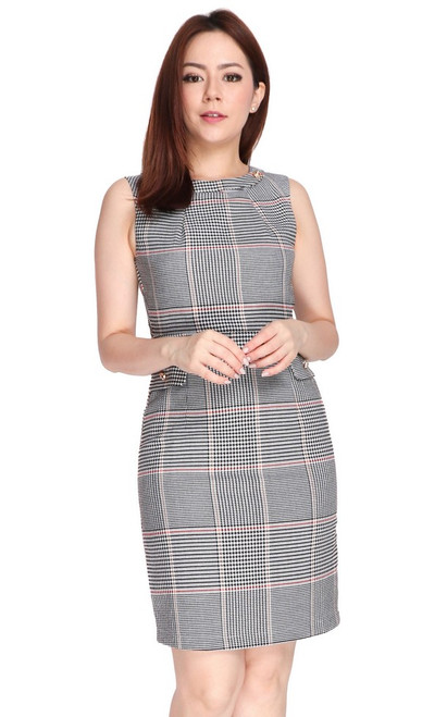 Checkered Pencil Dress