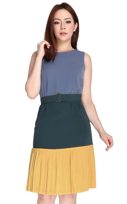 Tricolour Pleated Hem Dress - Blue Grey