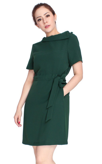 Boatneck Drawstring Waist Dress - Forest Green
