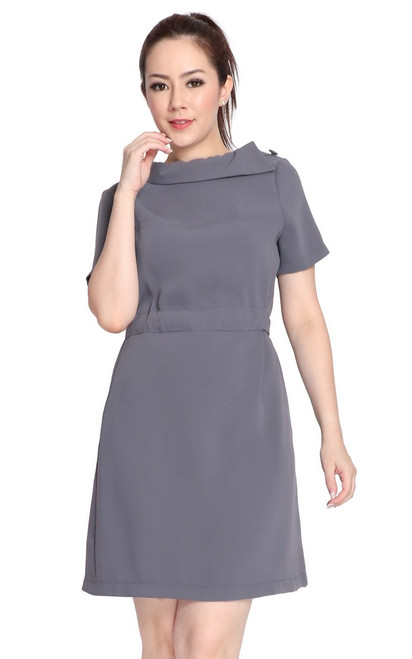 Boatneck Drawstring Waist Dress - Grey