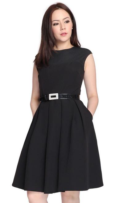 Mesh Panel Pleated Flare Dress