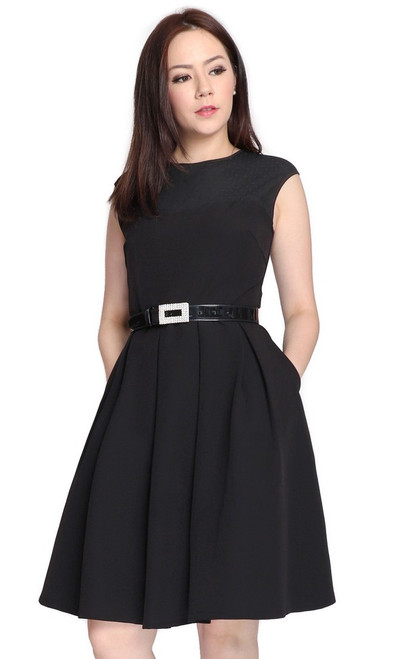 Mesh Panel Pleated Flare Dress