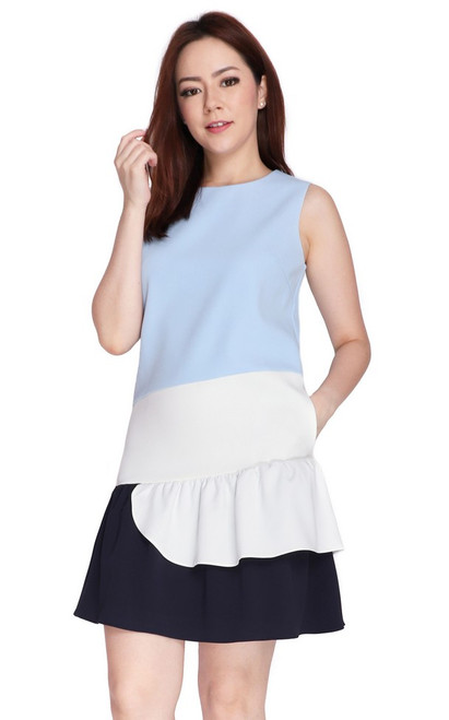 Tricolour Ruffled Hem Dress - Baby Blue