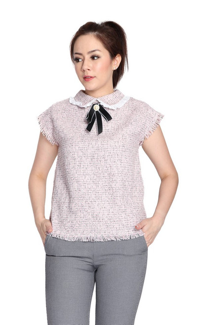 Collared Tweed Top - Pink