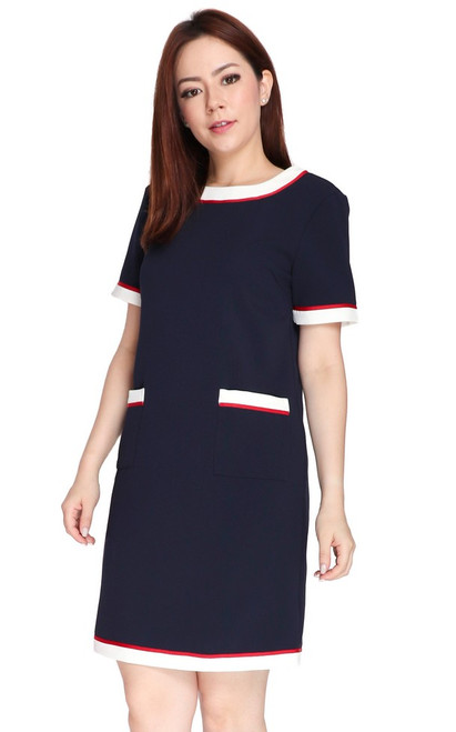Contrast Pockets Shift Dress - Navy