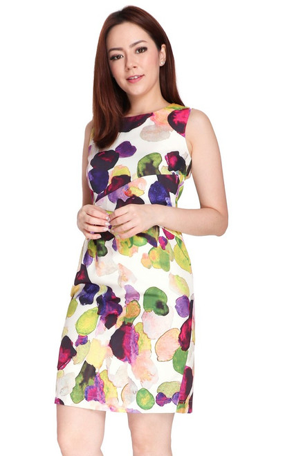 Abstract Print Side Ruched Dress - Green