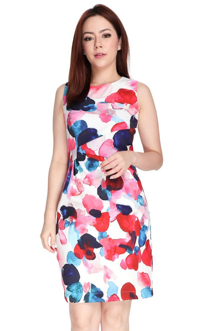 Abstract Print Side Ruched Dress - Red