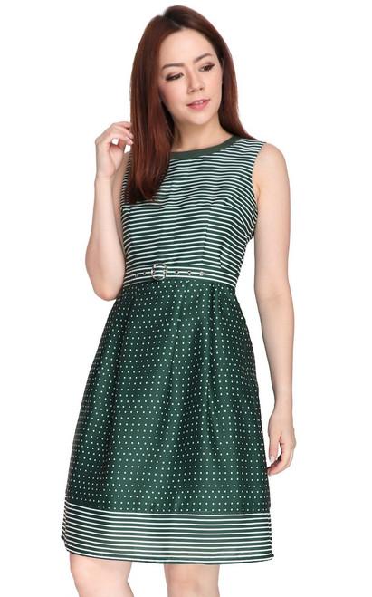 Dots & Stripes Dress - Green