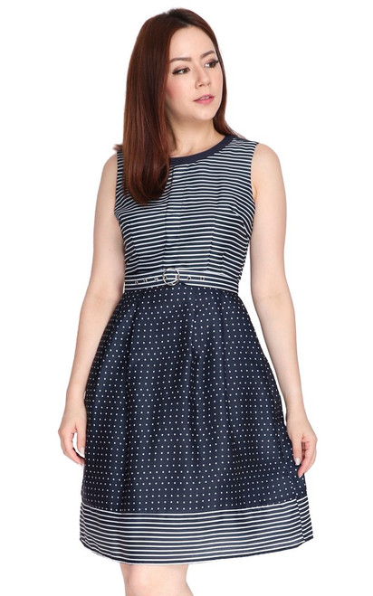 Dots & Stripes Dress - Navy