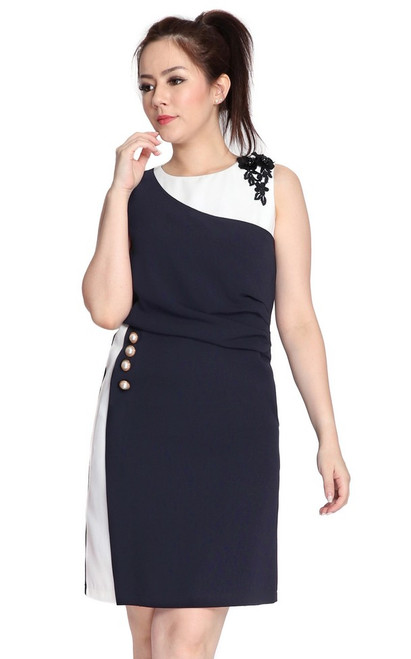 Contrast Side Ruched Dress - Midnight Blue