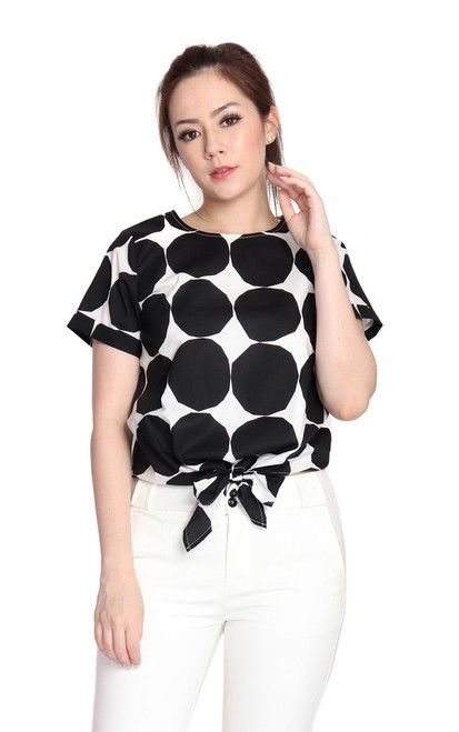 Dotted Waist Tie Top - Monochrome