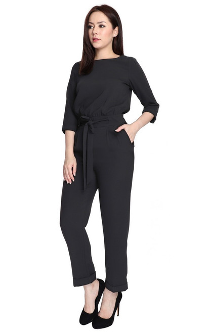Overlap Back Jumpsuit - Black