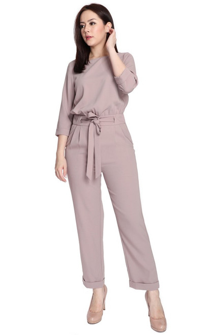 Overlap Back Jumpsuit - Dusty Mauve