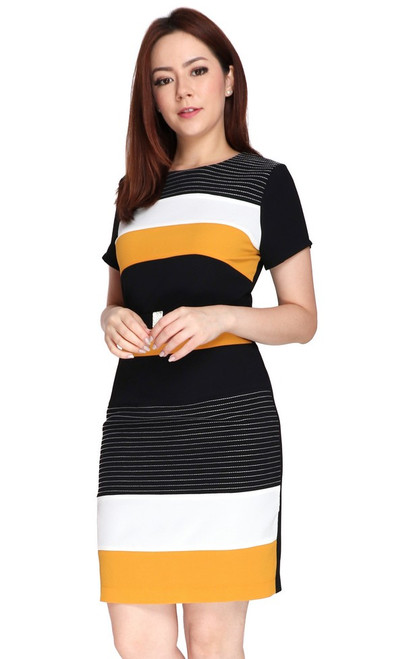 Contrast Blocks Pencil Dress - Mustard