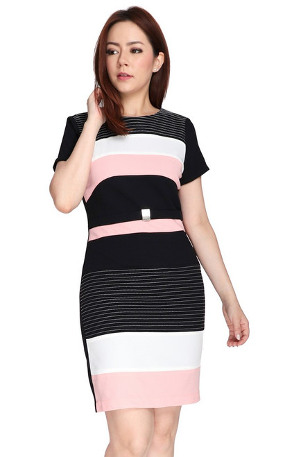 Contrast Blocks Pencil Dress - Pink