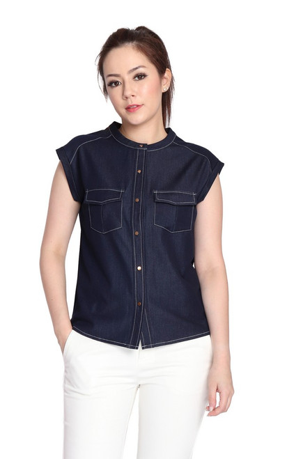 Chambray Buttons Top