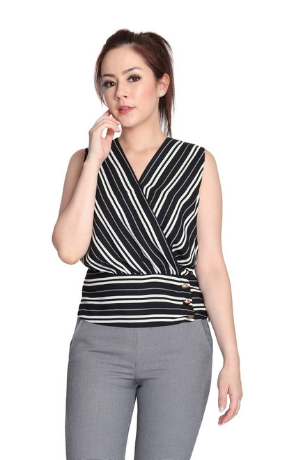 Striped Wrap Over Top - Black