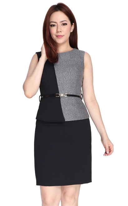 Tweed Contrast Peplum Dress