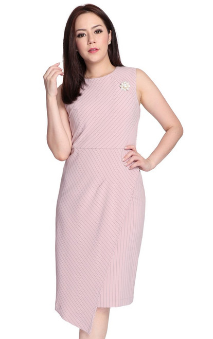 Pinstripe Wrap Over Dress - Dusty Pink