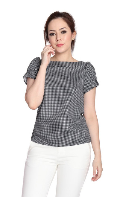 Puff Sleeves Top - Houndstooth