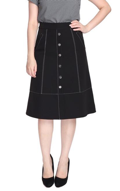 Contrast Stitch A-Line Skirt