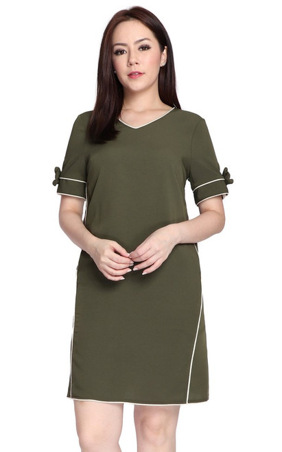 Bow Sleeves Dress - Olive