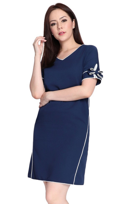 Bow Sleeves Dress - Navy
