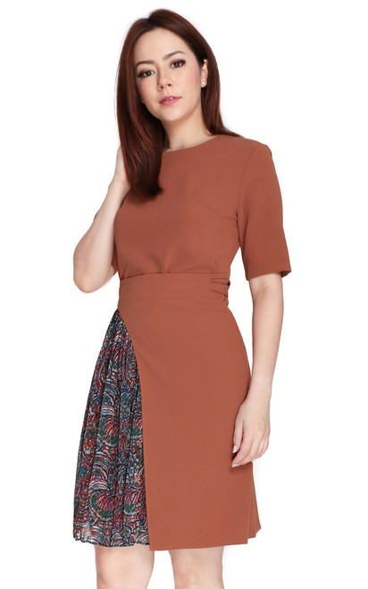 Chiffon Panel Wrap Dress - Nutmeg