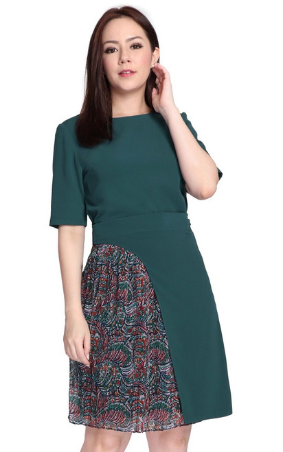 Chiffon Panel Wrap Dress - Forest Green