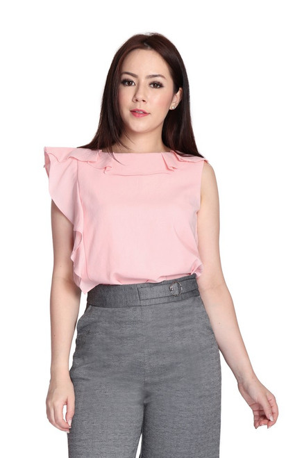 Asymmetrical Ruffle Top - Peach Pink